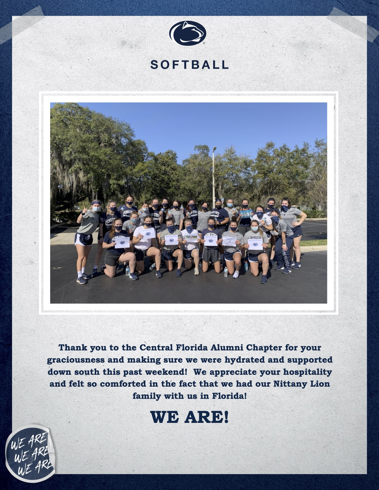 PSU Softball Team Thank You